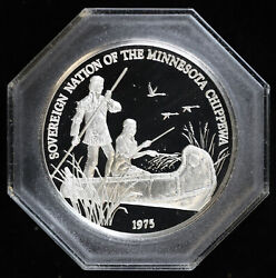 1975 Indian Tribal Series The Chippewa People .999 Silver Medal W/ Book