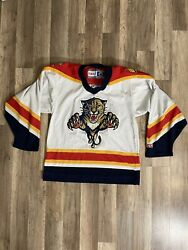 Vintage Florida Panthers Ccm White Hockey Nhl Jersey Mens Small