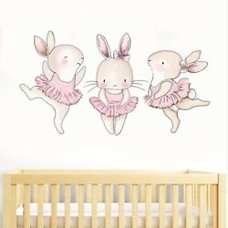 3pcs Dancing Rabbits Wall Stickers for Girls Baby Kids Room Wall Decor