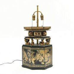 19th C Chinese Gilt Lacquer Wood Altar Box Converted To Lamp