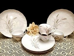 Vintage Laurel Adair Wheat Pattern China Snack Plates And Tea Cups - Set Of 4