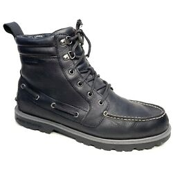 Sperry Mens Top-sider Lug Waterproof Black Leather Boots Lace-up Chukka Sz 11.5