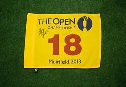 Phil Mickelson Signed 2013 Open Championship Pin Flag Aftal Coa