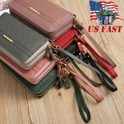 Womens Leather Wallet Double Zip Large Travel Continental Wristlet Wallet Clutch $12.99