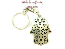 Estate Handcrafted Floral Design Hamsa Egyptian 800 Silver Key Chain Keychain