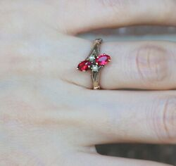 Antique Victorian 10k Yellow Gold Seed Pearl Red Stone Ring Size 5.25 2 Grams