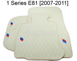 Floor Mats For Bmw 1 Series E81 Beige Interior Leather With ///m Emblem Handmade