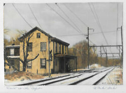 Shawmutt Rr Depot Train Station Reading R P Storks Mounted Hand Colored Photo