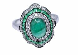2.71ct Emerald And Diamond Vintage Style Ring In 18k White Gold