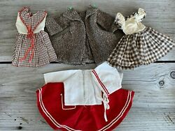 Vintage Doll Clothes Lot 4 1940's 1950's Coat Dresses Outfit Handmade And Factory