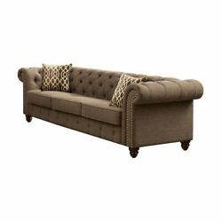 Living Room Furniture 3piece Sofa Set Brown Upholster Button Tufted Rolled Arms