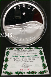 2018 5oz Peace On Earth Proof Silver Shield Group Very Low Mintage
