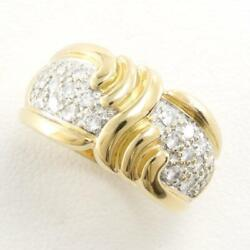 Jewelry 18k Yellow Gold White Ring 11 Size Diamond About7.9g Free Shipping Used