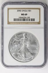 2002 American Silver Eagle Ngc Ms69, Lf1609a/ue