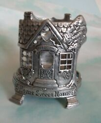 Carson Pewter Candle Jar Holder quot;Home Sweet Homequot; Fits Yankee Jar Candles