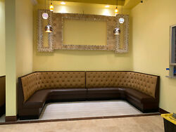 Restaurant Booth U Shaped -upholstered Diamond Tufeted Back In 36h 42h48h