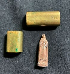 Rare Antique Wwi Pocket Shrine And Statue Of Saint Therese With Brass Case