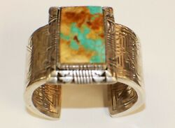 Native American Acoma Pueblo Sterling Silver And Turquoise Bracelet By Tony Chino