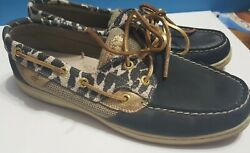 Sperrys Top Sider Animal Print Black Leather Womens Size 9m Shoes