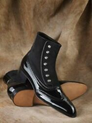 Handmade Black Patent Leather And Suede Ankle High Buttoned Boots For Men Shoes