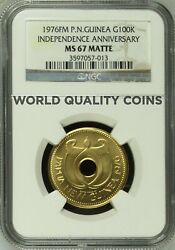 Papua New Guinea 1976 Gold 100 Kina Independence Mintage Only 100 Hole Ngc Ms67
