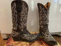 Old Gringo Diego Crystal Brown Leather Cowboy Boots Size 9 Worn Twice