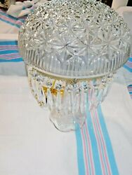 Antique Pressed Glass Parlor Lamp With Prisms Pres-cut Base    2316