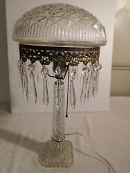 Antique Pressed Glass Parlor Lamp With Pressed Glass Shade With Prisms   1963