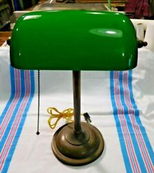 Antique Brass Weighted Bankers Desk Lamp With Green Cased Glass Shade 2089