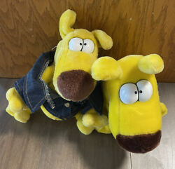 1987 Grimmy Plush Dog Lot Of 2 Mother Goose And Grimm By 24k