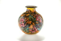 Charles Lotton Rare Multi-color Cypriot Series 8 Art Glass Vase Signed 2005