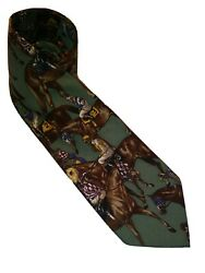 Polo Vintage Silk Mens Neck Tie Suits Made By Hand Usa Horse Derby