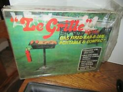 New Le Grille Cast Iron Gas Fired Portable Barbeque Grill-nib