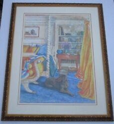 Sue Furrow Painting Contemporary Interior Colorful With Puppy Dog Unique Large