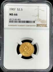 1907 Gold Liberty Head 2.5 Quarter Eagle Coin Ngc Mint State 66