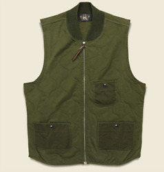 Rrl Quilted Cotton-twill Jersey Vest - Gilet Green Size Medium 300