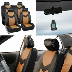 Tan Black Seat Covers For Auto Car Suv Van Pu Leather Full Set W/ Free Gift