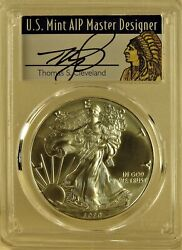 2020 P1silver Eagle Pcgs Ms70 Aip Thomas Cleveland Native Label
