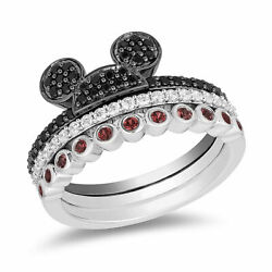 1/2ct White And Black Round With Ruby Diamond Micky Mouse Wedding Silver Ring Set