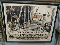 1914-1918 Wwi N.y. Conservation Commission Liberation Poster Cut Wood Burn Wood