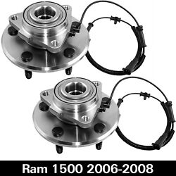 5 Lugs 2 Front Wheel Bearings And Hub For 2006 - 2008 Dodge Ram 1500 W/abs 2wd 4wd