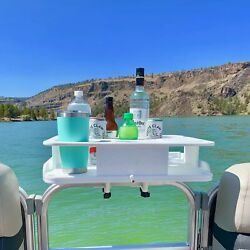 The Docktail Boat Table Caddy And Cup Holder With Pontoon Boat Rail Mount