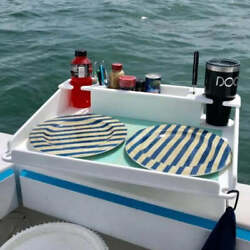 Docktail Boat Utility Table With All Angle Adjustable Rod Holder Mount