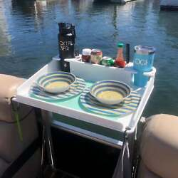 Docktail Boat Utility Table With Pontoon Boat Square Rail Mount