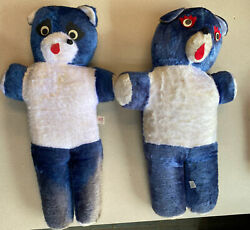 1960 Vintage Superior Toy Large Blue And Ivory Bear Carnival Plush Teddy 26