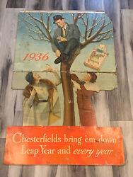 Vintage Rare 1936 Chesterfield Cigarette Advertising Huge Cutout Display Sign 54