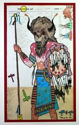 Native American Indian Dallin Maybee Ledger Drawing, Unframed, With Matte