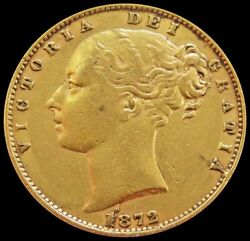 1872 Gold Great Britain Victoria Young Head Shield Reverse Sovereign Coin