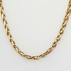 Solid Gold Woven Link Chain Set In 14k Yellow Gold
