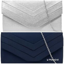 New Sexy Suede Blue Or Silver Evening Clutch $19.99
